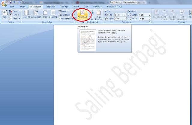 Cara Membuat Watermark pada Microsoft Word 2007 - Saling