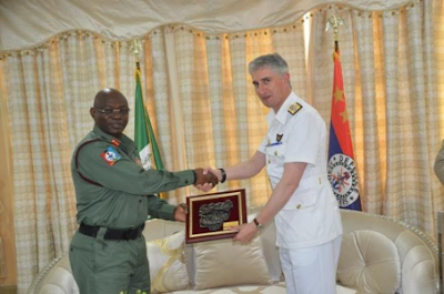Nigeria Chief of Defense Staff, General Gabriel Olonisakin.  and United Kingdom Assistant Chief of Defense Staff, Rear Admiral Simon James Ancona