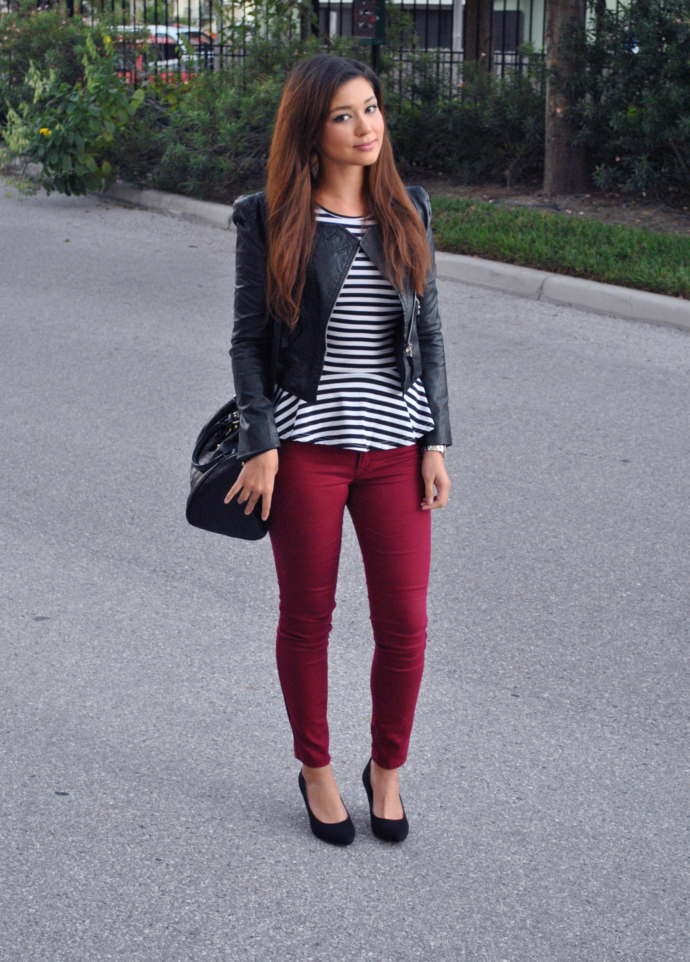lookbookstore shoulder pads tank, striped, peplum, charlotte russe pants, refuge denim, cityclassified heels, steve madden bag, arafeel jacket, stripe pelpum, pu jacket, leather jacket, burgundy jeans
