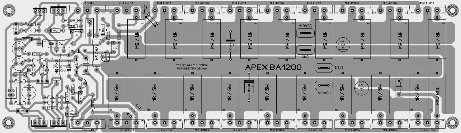 layout pcb power amplifier 2000 watt