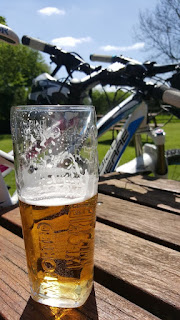 Drinking a pint in a beer garden