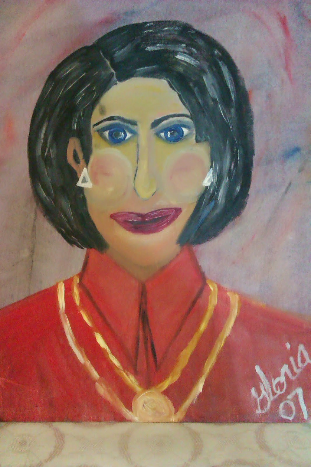 """Greek Lady"" oil painting by Gloria Poole; yr 2007"