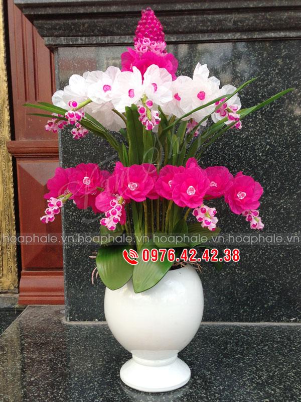Hoa lan 2 tầng hồng trắng - Mẫu hoa pha lê