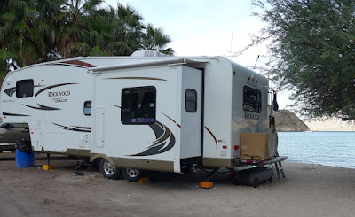 Our trailer, boondocking on Coyote Beach