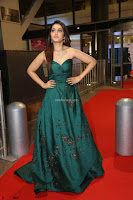 Raashi Khanna in Dark Green Sleeveless Strapless Deep neck Gown at 64th Jio Filmfare Awards South ~  Exclusive 167.JPG