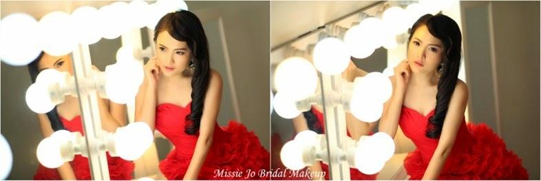 red dress vintage hair side curls