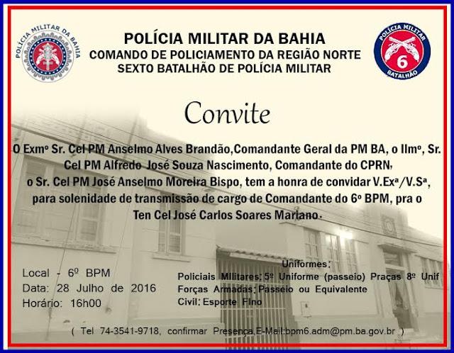 POSSE DO NOVO COMANDANTE  DO 6º BATALHÃO