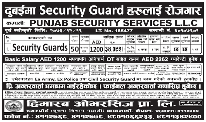 Jobs in Dubai for Nepali, Salary Rs 34,092