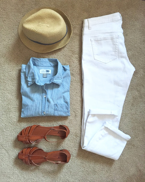 Chambray top + white denim