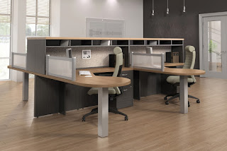 Global Zira open concept workstation for 4 people