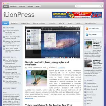 iLionPress blog template. magazine blogger template style. magazine style template blogspot. 3 column blogspot template