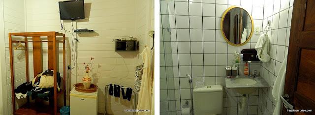 Quarto e banheiro da Pousada Fortaleza, Fernando de Noronha