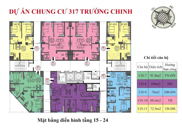 mặt bằng thiết kế chung cư 317 trường chinh