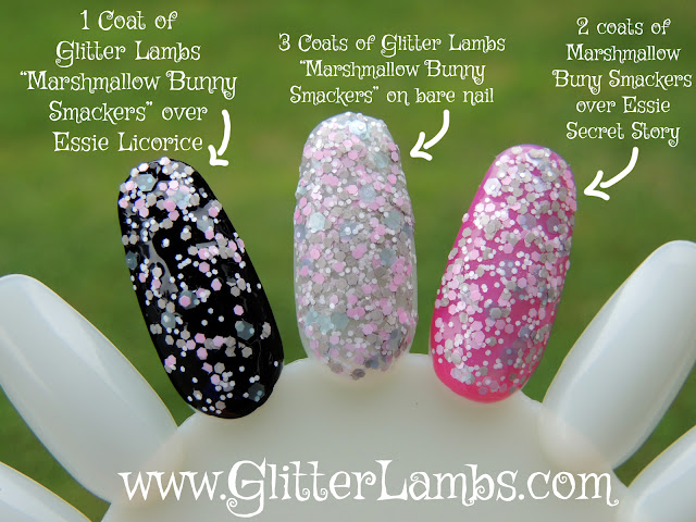 """The picture above shows 1 coat Glitter Lambs """"Marshmallow Bunny Smackers"""" over Essie """"Licorice"""", the 2nd nail has 3 coats of Glitter Lambs """"Marshmallow Bunny Smackers"""" on a bare nail, and the 3rd nail has 2 coats of Glitter Lambs """"Marshmallow Bunny Smackers"""" over Essie """"Secret Story""""."""