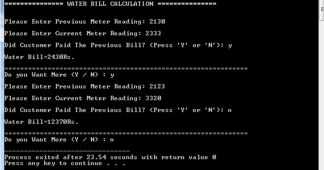 Write a Program in C++ Which Compute Monthly Water Bill