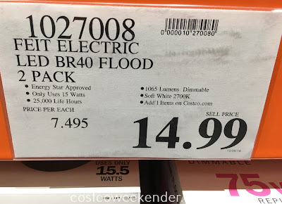 Deal for a 2 pack of Feit Electric BR40 Flood 75 Watt Replacement LED Bulbs at Costco