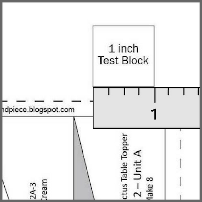 Printing PDF quilt patterns - one inch test block