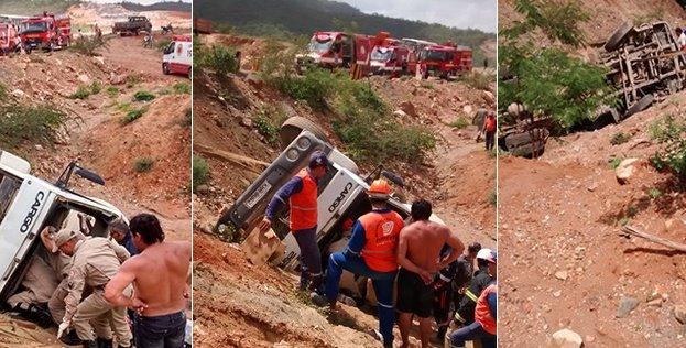 Caminhão cai em abismo e motorista fica preso nas ferragens em obra da transposição do São Francisco na PB