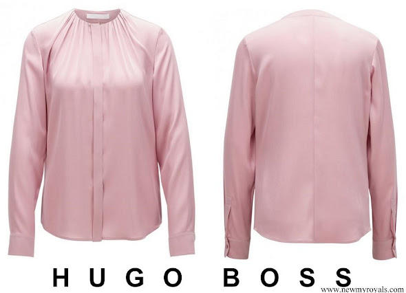 Crown Princess Mary wore Hugo Boss Lila Silk Blouse