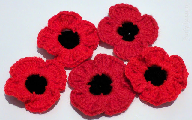Fast Crochet Poppy Pattern With Minimal Black Worked Stitches