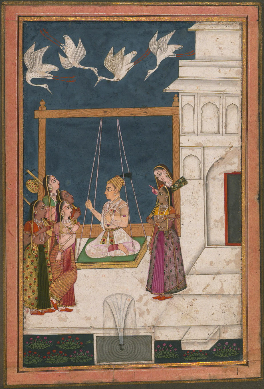 Hindola Raga - Miniature Painting, Deccan School, Ragamala Series, 19th Century