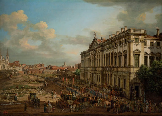 "obra de arte renacentista, pintura al óleo, Bernardo Bellotto, (Italian, 1722–80), ""Procession of Our Lady of Grace in Front of Krasinski Palace"", 1778."