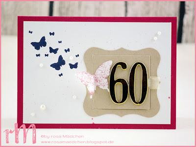Stampin' Up! rosa Mädchen Kulmbach: Geburtstagskarte zum 60. mit Perpetual Birthday Calendar und Für viele Anlässe