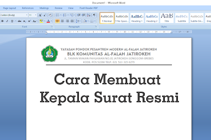 Cara membuat Kop atau Kepala Surat Resmi dengan Microsoft Word