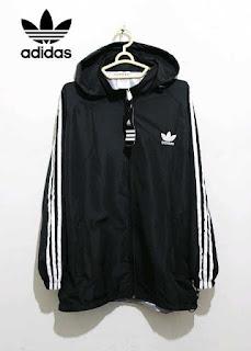 Jaket Adidas Parasut Full Hitam List Putih 017 Originals