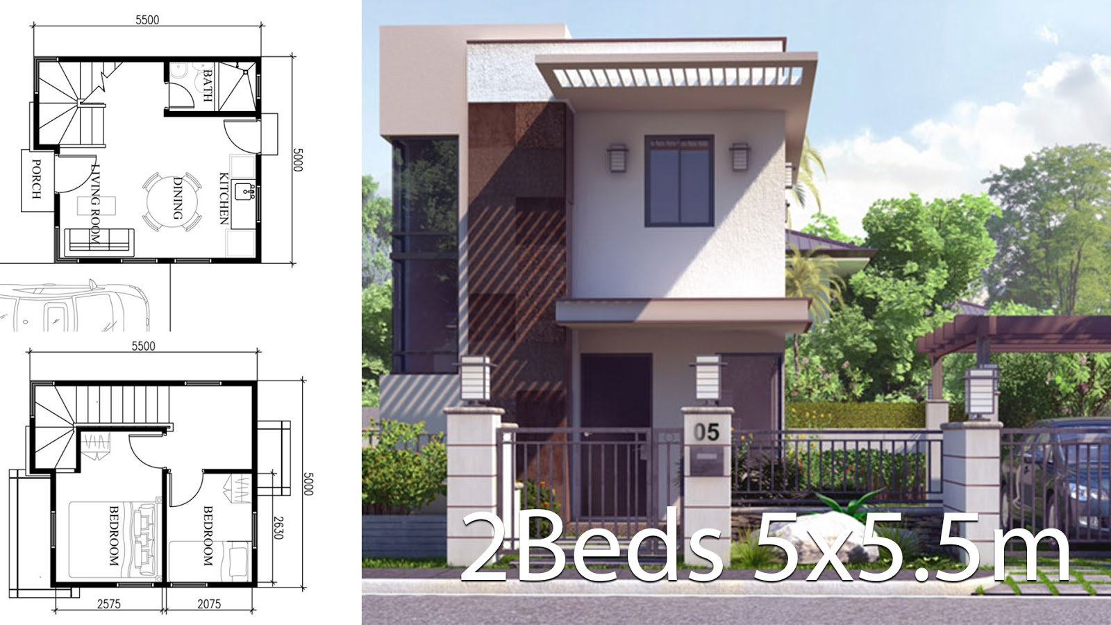 4 Small Home Design Plan With Front Side 6meters House Plan Map
