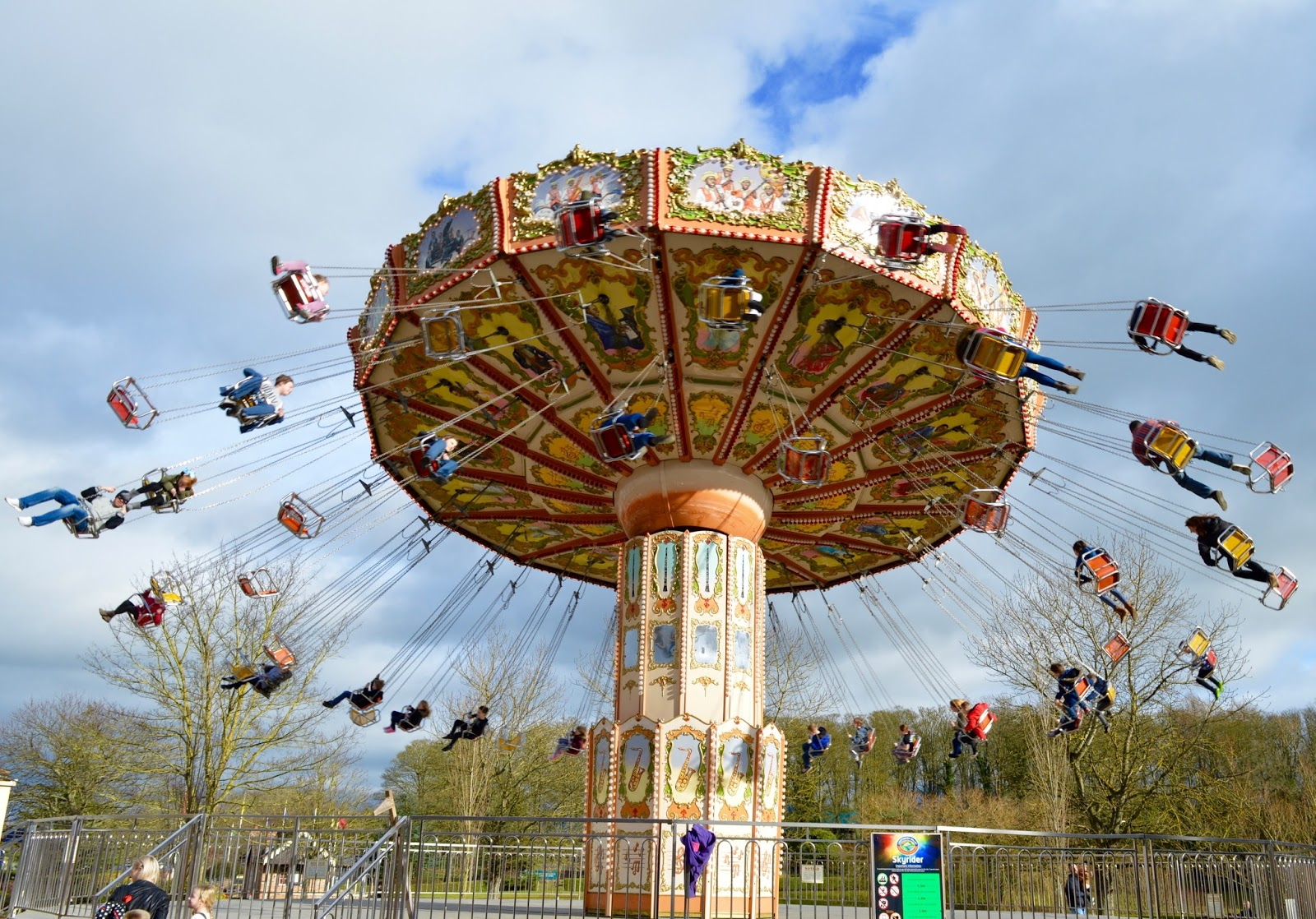 Visiting Angry Birds Activity Park at Lightwater Valley, North Yorkshire - swings ride