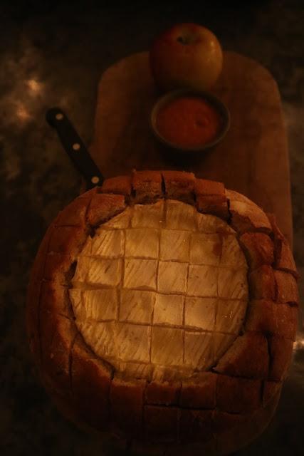 Baked camembert in sourdough loaf