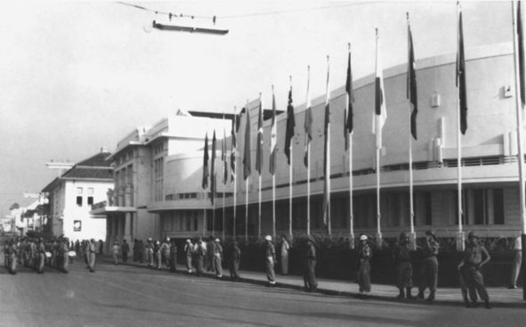 Gedung Merdeka in Bandung during the Asia-Africa Conference in 1955.