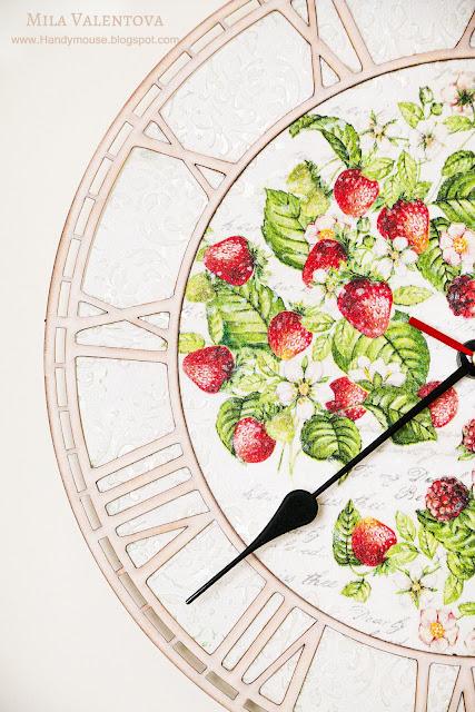 Свадебные-часы-настенные -земляника-Мила-Валентова-11