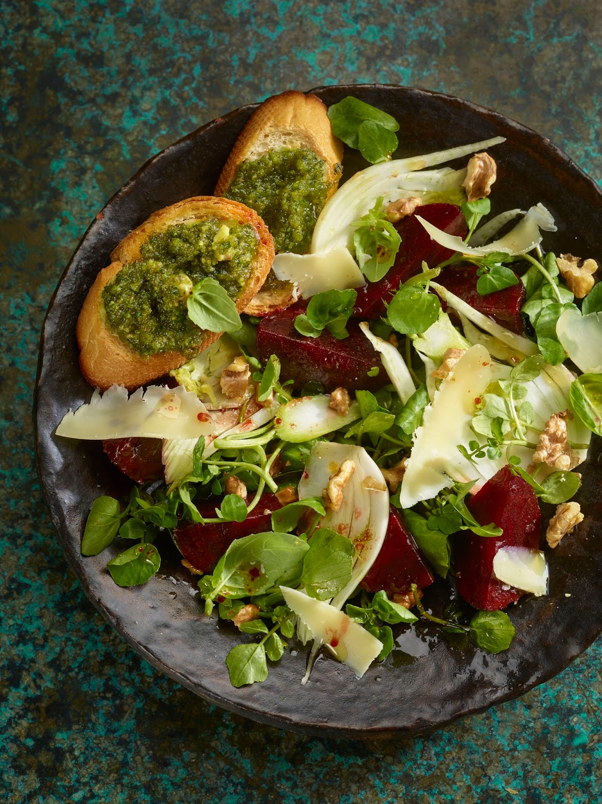 Watercress, Beetroot And Fennel Salad With Comté, Basil And Walnut Crostini