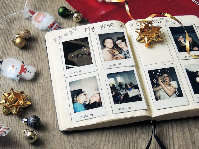 bullet journal page polaroids blogmas glitter is black