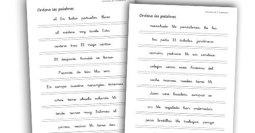 La Eduteca Recursos Primaria Fichas Para Ordenar Palabras