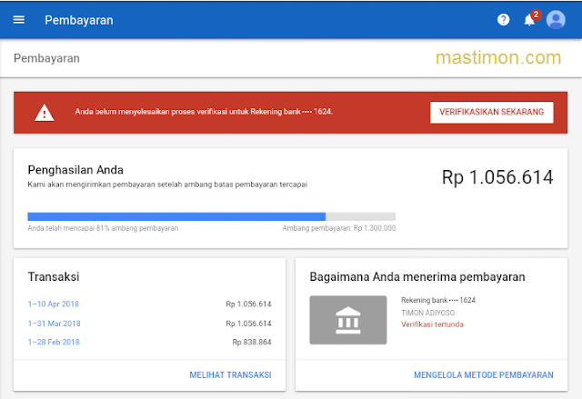 Cara verifikasi Rekening Bank akun Google Adsense dengan mudah