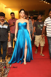 Actress Tamannaah Pictures in Blue Long Dress at Abhinetri Audio Launch  0180.jpg