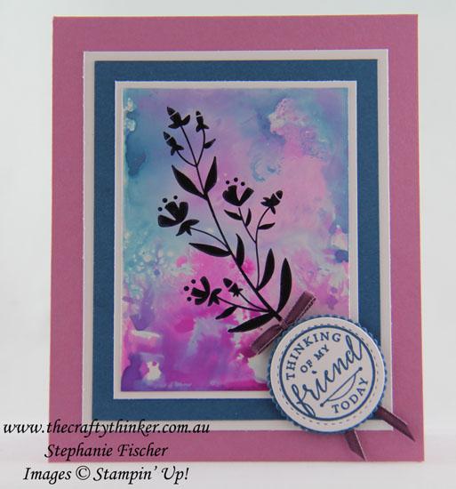 Silhouette stamp, Flirty Flowers, Watercolour Background, Glossy Cardstock, #thecraftythinker, Stampin' Up Australia Demonstrator, Stephanie Fischer, Sydney NSW