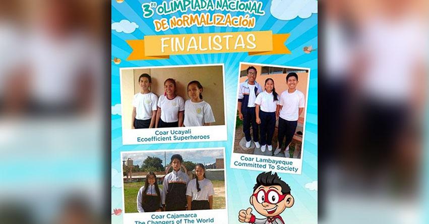 COAR: Equipos de los Colegios de Alto Rendimiento de Cajamarca, Lambayeque y Ucayali disputarán final de III Olimpiada de Normalización
