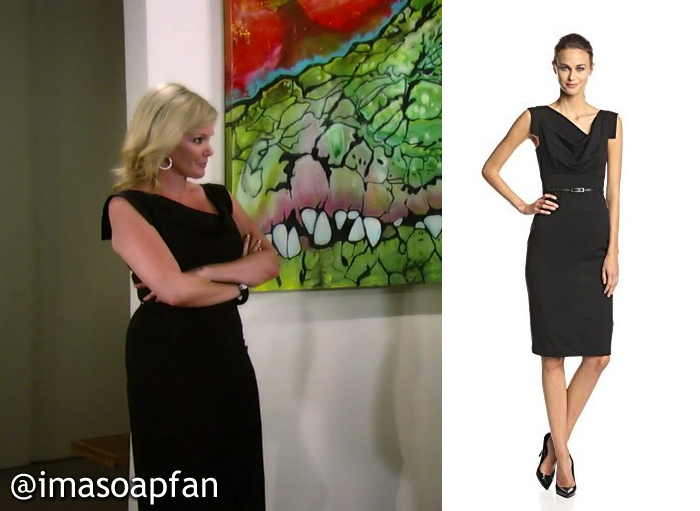 c4c7151282f ... Ava was wearing a black dress with an asymmetric draped neckline by Black  Halo. Ava s