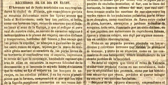 Fragmento de Recuerdos de un día en Elche (El Eco Popular, Madrid, 9-11-1872)