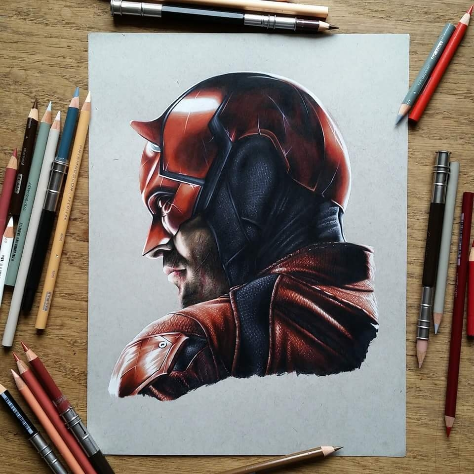 02-Daredevil-Benjamin-Davis-Superheroes-and-the-Dark-Side-Drawings-www-designstack-co