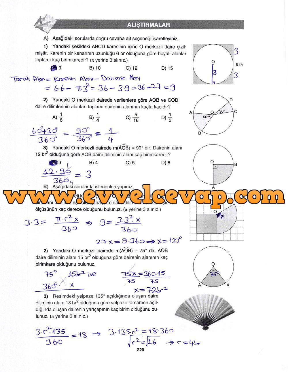 7. Sınıf Gizem Yayınları Matematik Ders Kitabı 220. Sayfa Cevapları Çember ve Daire