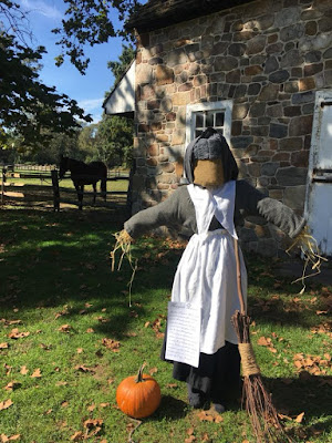 Scarecrow in 17th-century clothes at Pennsbury Manor