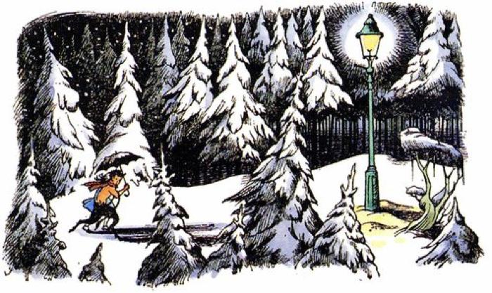 Mr. Tumnus e Lucy nella neve, illustrazione da Le Cronache di Narnia Il leone, la strega e l'armadio