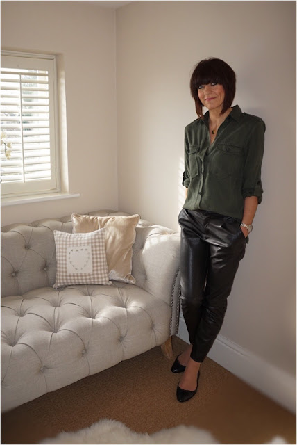 My Midlife Fashion, Zara Printed Ballerinas, Pleather trousers, faux leather trousers, military shirt, zara military shirt, harry rocks entwined initials pendant