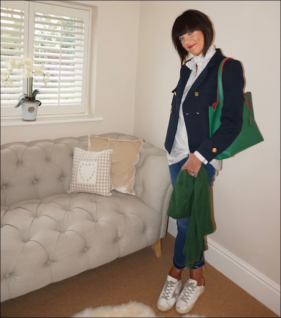 My Midlife Fashion, Mimi and Thomas Scallop Edged Tote, zara double breasted blazer, boden raw edge jeans, golden goose superstar trainers, uniqlo stripe ruffle collar shirt