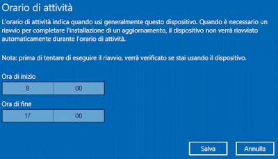 Cambiare Orario di attività Windows 10